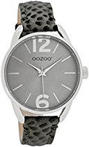 Oozoo Damen-/ Kinderuhr JR284 dunkelgrau-matt-kroko 38 mm - Lederband
