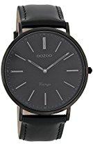 Oozoo Vintage Ultra Slim Leder 44 MM Black/Schwarz/Schwarz C7301