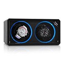 Klarstein Design Uhrenbeweger Drehtribüne mit blauen LED-Lichteffekt (4 Rotationsmodi, Sichtfenster, flüsterleise) schwarz