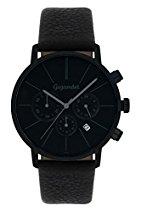 Gigandet MINIMALISM Herren Quarz Chronograph - Armbanduhr mit analoger Anzeige - 30m/3atm wasserdicht mit Datumsanzeige, schwarzem Lederarmband und schwarz-/grauem Zifferblatt - G32-004