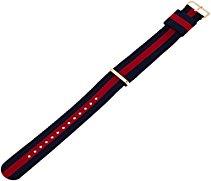 Daniel Wellington Herren Uhren-Armband Classic Oxford Natostrap blau rot Schliesse roségold 0301DW