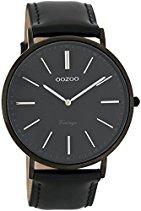 Oozoo Vintage Ultra Slim Leder 44 MM Black/Schwarz/Schwarz C7300