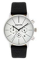 Gigandet MINIMALISM Herren Quarz Chronograph - Armbanduhr mit analoger Anzeige - 30m/3atm wasserdicht mit Datumsanzeige, schwarzem Lederarmband und silber-/weißem Zifferblatt - G32-001