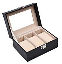 Discountoase Uhrenbox für 3 Uhren Leder-Look Echtglas-Fenster