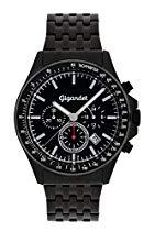 Gigandet VOLANTE Herren Quarz Chronograph - Armbanduhr mit analoger Anzeige - 100m/10atm wasserdicht mit Datumsanzeige, schwarzem Edelstahlarmband und schwarzem Zifferblatt - G3-015