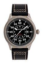 Gigandet RED BARON I Herren Automatik Fliegeruhr - Armbanduhr mit analoger Anzeige - 100m/10atm wasserdicht mit Datumsanzeige, schwarzem Lederarmband und schwarzem Zifferblatt - G8-005