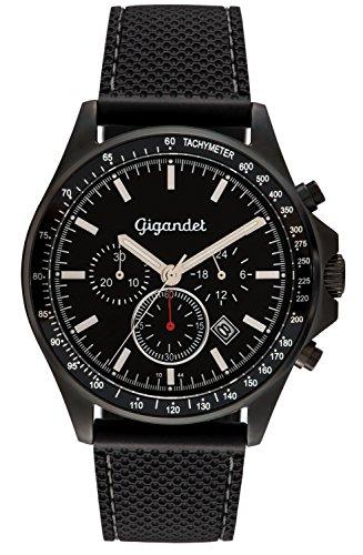 Gigandet Herrenuhr VOLANTE Chronograph Edelstahlgehäuse schwarzes Zifferblatt Datumsanzeige Silikonarmband G3-009
