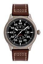 Gigandet RED BARON I Herren Automatik Fliegeruhr - Armbanduhr mit analoger Anzeige - 100m/10atm wasserdicht mit Datumsanzeige, braunem Lederarmband und schwarzem Zifferblatt - G8-001