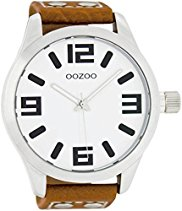 Oozoo Herrenuhr mit Lederband XXL - Weiss/Cognac - C5502