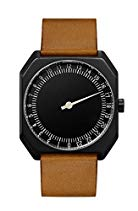slow Jo 19 - Schweizer unisex Einzeigerarmbanduhr analoge 24 Stundenanzeige Leder schwarz / braun