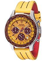 DETOMASO Herrenuhr Quarz Edelstahlgehäuse Lederarmband Mineralglas FIRENZE STYLE Chronograph Trend mehrfarbig/gelb SL1624C-YB