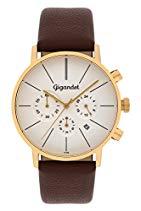 Gigandet MINIMALISM Herren Quarz Chronograph - Armbanduhr mit analoger Anzeige - 30m/3atm wasserdicht mit Datumsanzeige, braunem Lederarmband und silber-/weißem Zifferblatt - G32-003