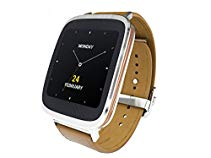 Asus Zenwatch WI500Q (4,14cm Touchscreen, Qualcomm Snapdragon 400 APQ8026, 4GB, Lederarmband braun) silber
