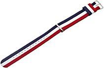 Daniel Wellington Herren Uhren-Armband Classic Cambridge Natostrap blau weiss rot Schliesse silber 0403DW