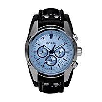 Fossil Herren-Armbanduhr Chronograph Leder schwarz Sport CH2564