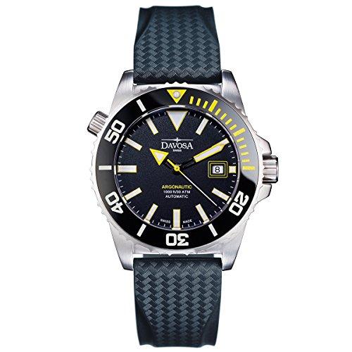 Davosa Herren-Armbanduhr Argonautic Automatic Analog Automatik Gummi Schwarz 16149875