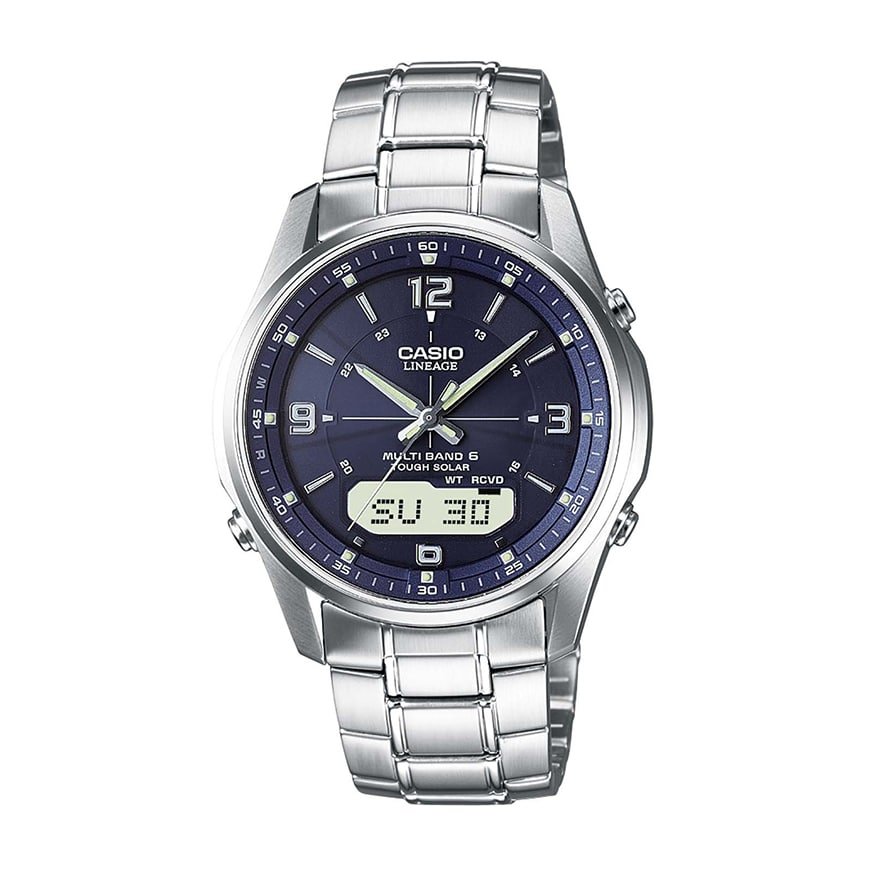Casio Herren Armbanduhr XL Funkuhren Analog Edelstahl WVQ M410D 1AER