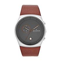 Skagen Herren-Armbanduhr XL Chronograph Quarz Leder SKW6085