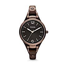 Fossil Damen-Armbanduhr XS Analog Quarz Leder ES3200