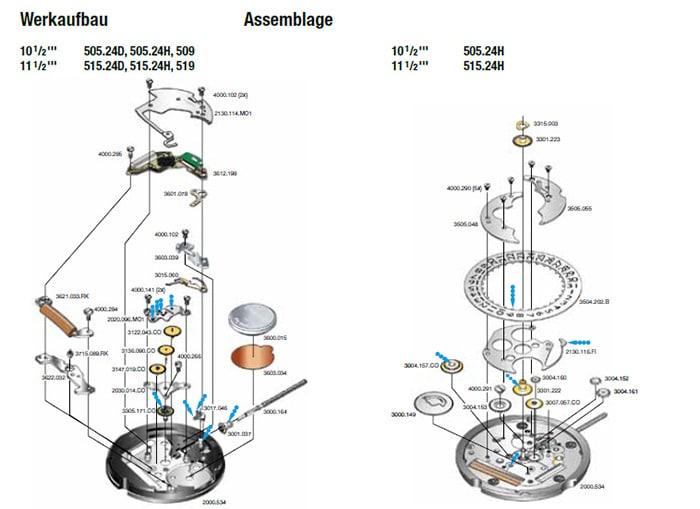 Der Werkaufbau des Quarzuhrwerks Ronda 505.24H der slow Jo 17
