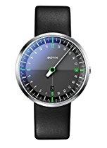 Botta-Design UNO 24 NEO Armbanduhr, schwarz - 24H Einzeigeruhr, Edelstahl, Saphirglas Antireflex, Lederband