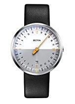 Botta-Design UNO 24 NEO Armbanduhr, weiß - 24H Einzeigeruhr, Edelstahl, Saphirglas Antireflex, Lederband