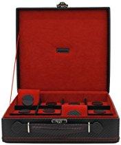 Friedrich|23 Unisex Uhrenkoffer für 12 Uhren Feinsynthetik in Carbon-Optik Schwarz 32054-2