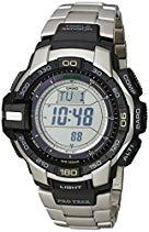 Casio Herren-Armbanduhr XL Pro Trek Digital Quarz Edelstahl PRG-270D-7ER