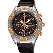 Seiko Damen-Armbanduhr Velatura Chronograph Quarz Leder SNDV62P1