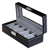 Songmics Uhrenkoffer  für 5 Uhren mit Glas Samt Schwarz JWB05B