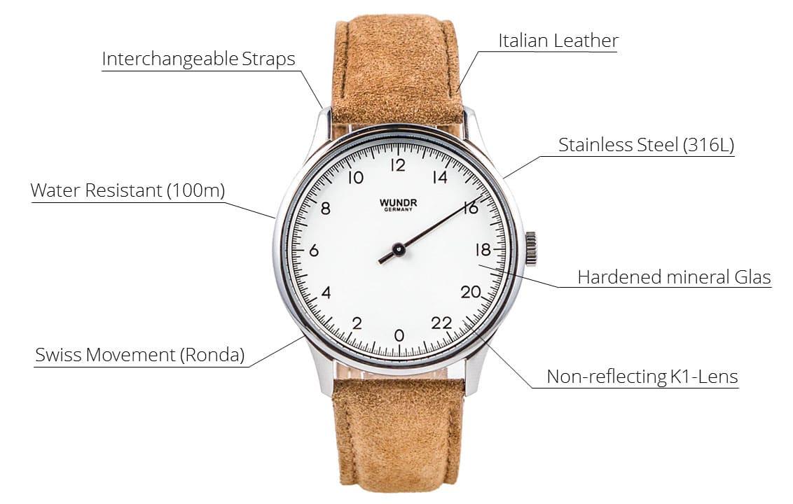 Die verschiedenen Features der Wundrwatch umfassen ein Schweizer Uhrwerk Ronda 515.24, K1 Mineralglas, Wasserdichtigkeit bis 10 ATM und Edelstahlgehäuse