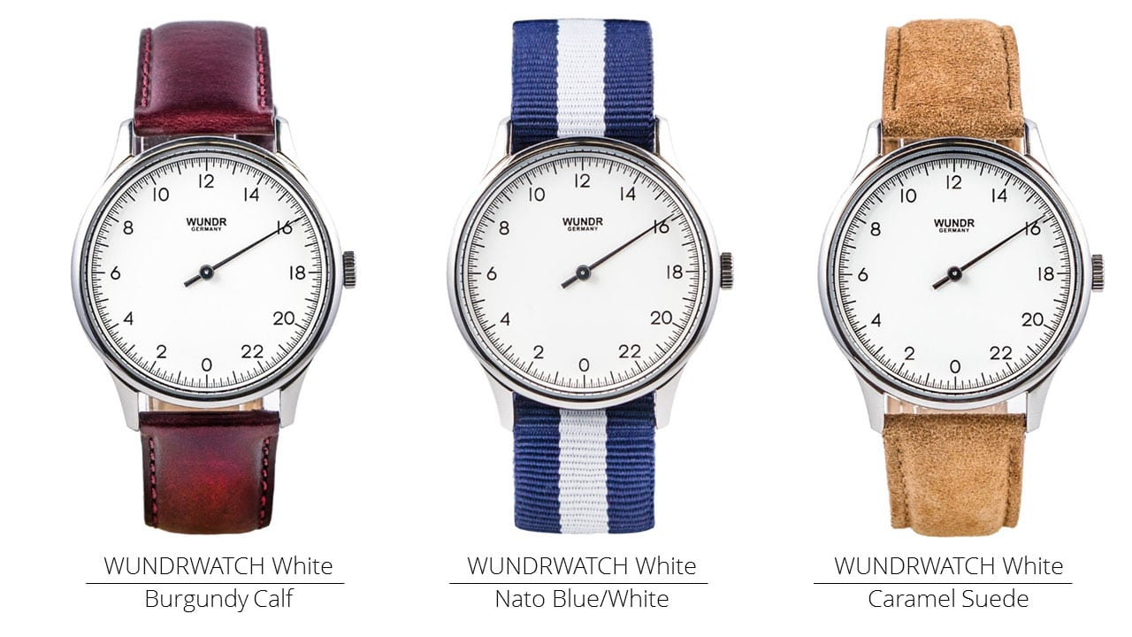 Die Wundrwatch ist mit verschiedenen Armbändern und Farben erhältlich. Links: Bugrunderfarbenes Kalbsleder / Mitte: Blau-weißes NATO-Band / Rechts: Karamel Wildleder