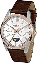 Jacques Lemans Herren-Armbanduhr Liverpool Moonphase Analog Quarz Leder 1-1901C