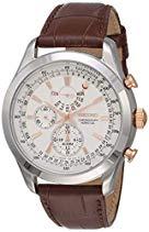 Seiko Herren-Armbanduhr XL Chronograph Quarz Leder SPC129P1