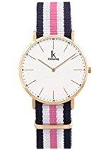 Alienwork Classic St.Mawes Quarz Armbanduhr elegant Quarzuhr Uhr modisch Zeitloses Design klassisch rose gold blau Nylon U04818L-02