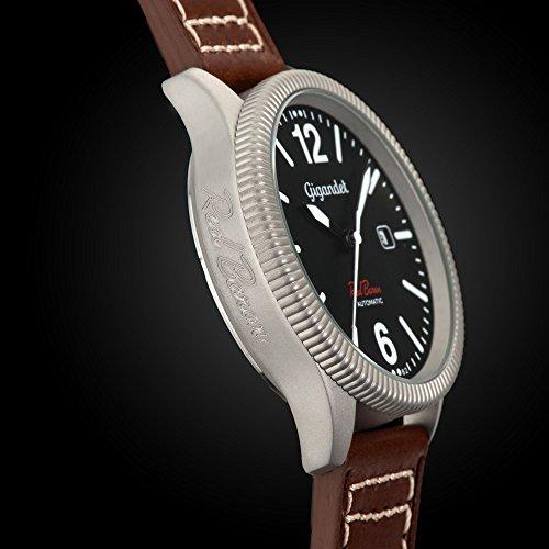 Gigandet Red Baron I Herren Automatik Fliegeruhr - Armbanduhr mit analoger Anzeige - 100m/10atm wasserdicht mit Datumsanzeige, braunem Lederarmband und schwarzem Zifferblatt - G8-004