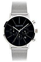 Gigandet Herren-Armbanduhr Minimalism Quarz Chronograph Uhr Datum Analog Edelstahlarmband Schwarz Silber G32-006