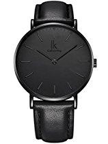 Alienwork IK All Black Quarz Armbanduhr Ultra-flach Uhr Herren Uhren Damen Zeitloses Design Leder schwarz 98469G-03