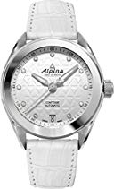 ALPINA DAMEN-ARMBANDUHR 34MM ARMBAND LEDER WEIß AUTOMATIK ANALOG AL-525STD2C6