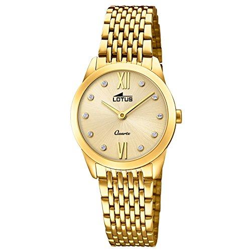 Lotus Damen-Armbanduhr Analog Minimalist Elegant mit Edelstahl-Armband gold Quarz-Uhr UL18477/2