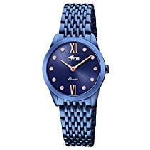 Lotus Damen-Armbanduhr Analog Minimalist Elegant mit Edelstahl-Armband blau Quarz-Uhr UL18479/1
