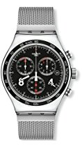 Swatch Herren-Armbanduhr XL New Irony Chrono Blackie Chronograph Quarz Edelstahl YVS401G