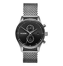 MVMT Voyager Sterling schwarz/ silber Edelstahl Mesh Herren Armbanduhr