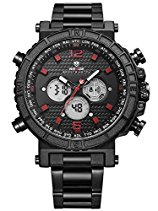 Alienwork Analog-Digital Armbanduhr sport LCD Uhr Herren Uhren Multi-funktion XXL Oversized Metall rot schwarz WD.WH-6305-B-5
