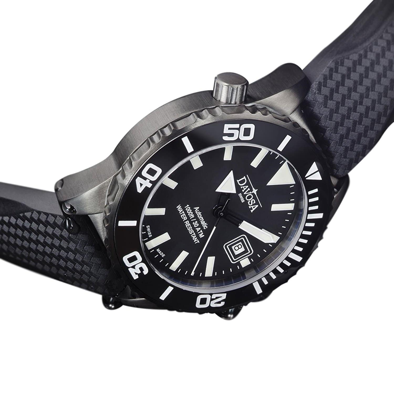 Swiss Made DAVOSA Men´s Diver 300m Automatic Gun Metal PVD Mod.No.16149880 (161.49.880)