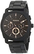 Fossil Herrenuhr Machine schwarz/gold / Analoge, robuste Chronographen Uhr mit großem Ziffernblatt, Datumsanzeige & wechselbarem Edelstahl Armband - im zeitlosen Industrial-Look
