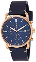 Fossil Men's 'The Commuter' Quartz Stainless Steel and Leather Casual Watch, Color:Blue (Model: FS5404)