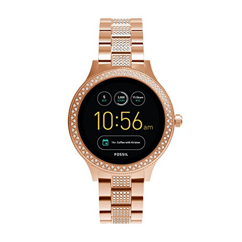 Fossil Damen Smartwatch Q Venture 3. Generation - Edelstahl - Roségold / Stylische Uhr mit Smartfunktionen & verziert mit Glitzersteinen / Für Android & iOS