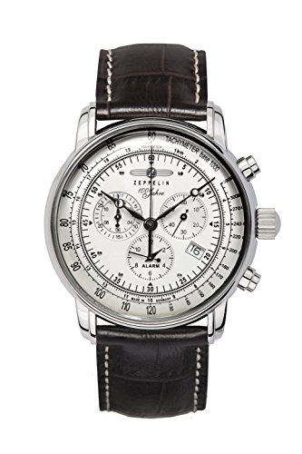 Zeppelin Herrenuhr Chronograph Quarz mit Lederarmband – 7680-1