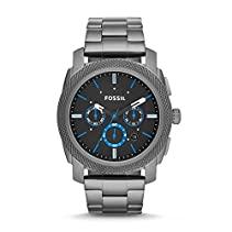Fossil Edelstahl Armbanduhr Machine Schwarz/Blau / Chronographen Uhr mit großem Ziffernblatt, lumineszierenden Zeigern, Datumsanzeige & Edelstahlarmband - im zeitlosen Industrial-Look